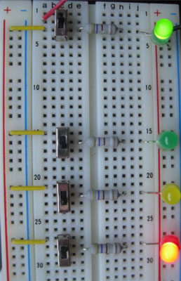 The green LED in the top right signals that voltage is applied to the power rails and the three-LED