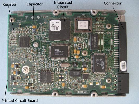 Computer hard drive electronics.