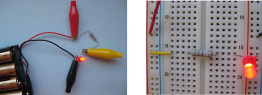 Two ways to set up the resistor-LED circuit.