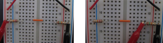 Measure the total voltage supplied by the battery (left) and the voltage across the resistor (right