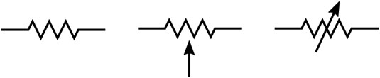 Circuit symbols for a fixed resistor (left), potentiometer (center), and rheostat (right).