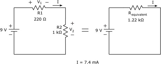 To calculate the current through this circuit, determine the equivalent resistance and apply Ohm's