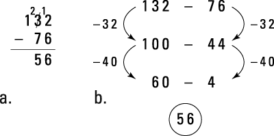 Two solution methods for 132 – 76.