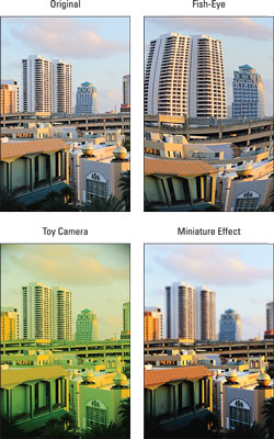 Julie used the Creative Filters feature to create these variations on a city scene.