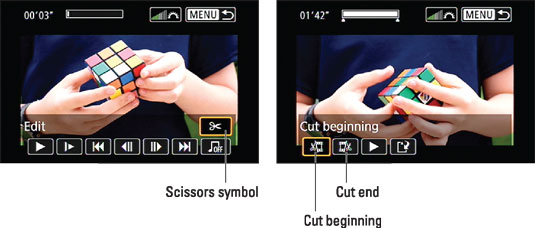 From the playback screen, select the scissors icon to get to the movie‐editing functions. [Cr