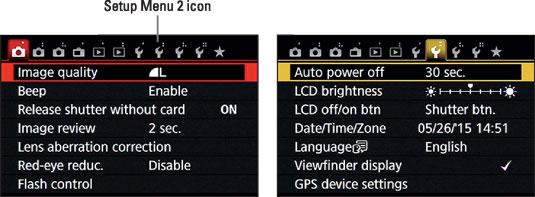 Tap the Setup Menu 2 icon to display that menu.