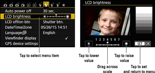 Tap the LCD Brightness item (left) and then drag left or right across a scale to adjust the setting