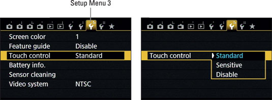 Control the touch screen response through this menu item.