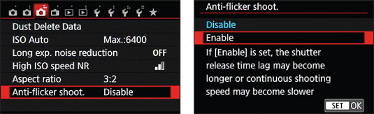 Enable Anti‐Flicker Shooting for more consistent exposures when battling the effects of flick