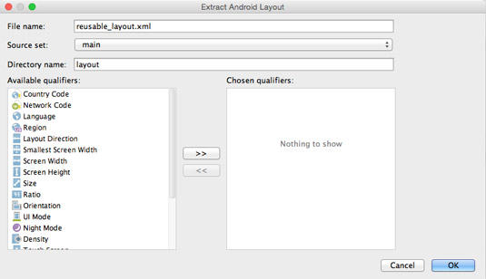 The Extract Android Layout dialog box.