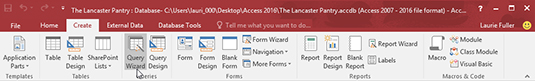 The Access 2016 ribbon with the Create tab open.