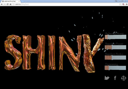 ShinyText uses JavaScript to produce a 3D physics simulation.