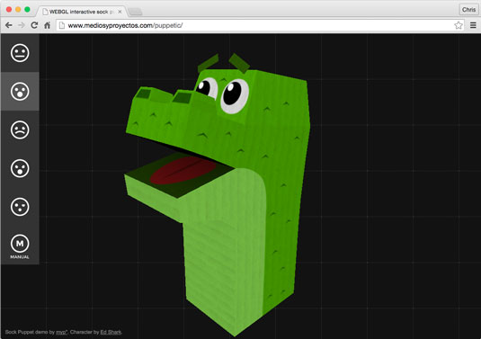Interactive Sock Puppet lets you control a JavaScript dinosaur sock puppet.