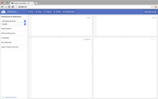 JSFiddle's clean and compartmentalized user interface.