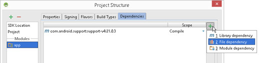 Adding a dependency to an app.