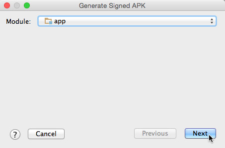 The first Generate Signed APK dialog box.