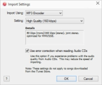 The Import Settings dialog box in iTunes.