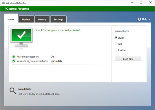 Windows Defender is up and running.