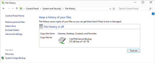 With an external or networked drive connected, time to turn on File History.