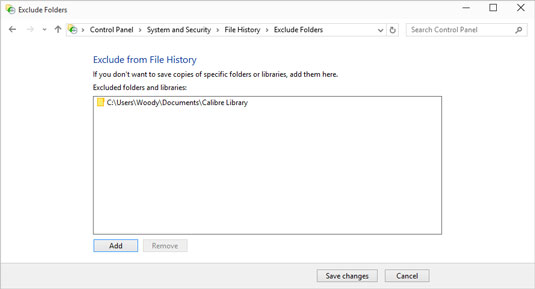 Exclude individual folders from File History.