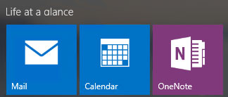 Outlook (Mail), Calendar, and OneNote ship with Windows 10.