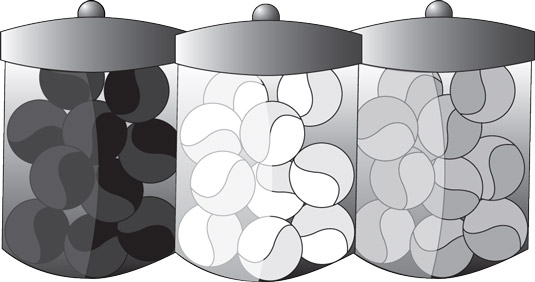 Each jar (or site) is clearly about one color of marbles: black, white, and gray.