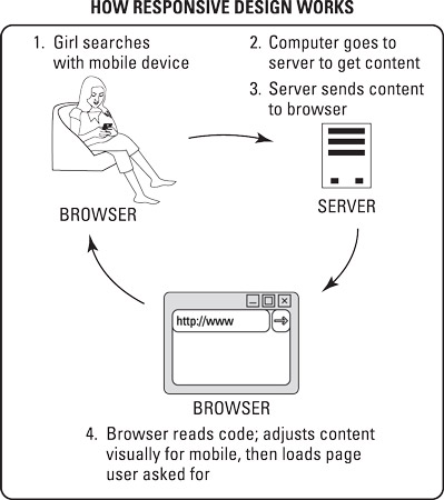 Websites that use responsive design to adjust the display of a website based on device type work in