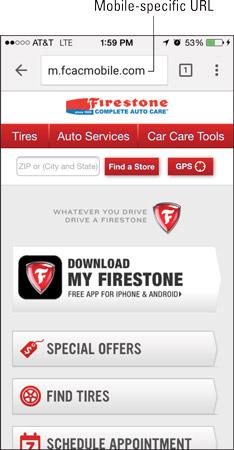 """Firestone uses an <i/></noscript>m.domain.com mobile site design."""" width=""""234″/> <div class="""