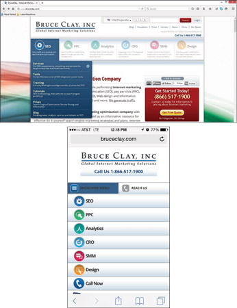 Bruce Clay, Inc. simplifies its desktop navigation (top) significantly to improve mobile user exper