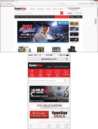 GameStop simplifies its desktop navigation (top) by including only user- and conversion-focused cal