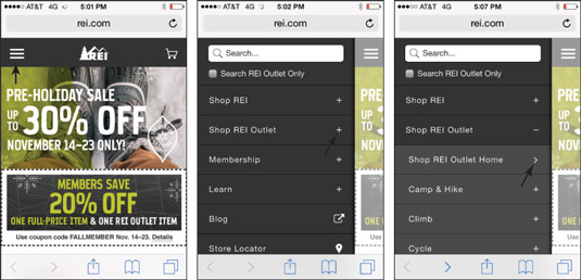 REI uses visual menu indicators to guide users through its multitiered navigation.
