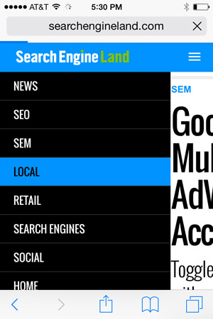 Search Engine Land uses color-change touch feedback to let users know where they have tapped within