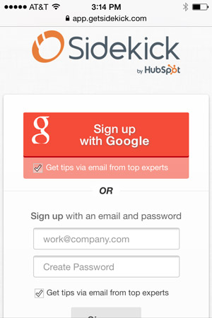 Because HubSpot Sidekick has optional third-party authentication, first-time mobile users can skip