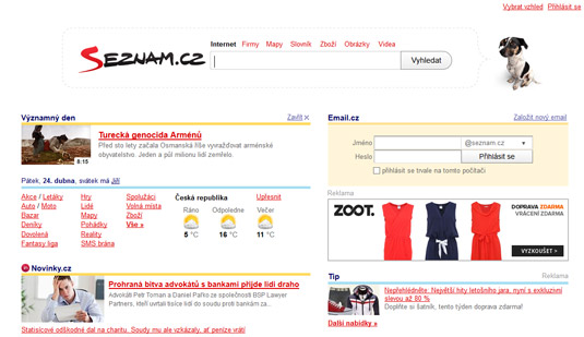 Seznam is a Czech search engine.