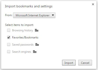 Figure 1: Import your bookmarks into Google Chrome.
