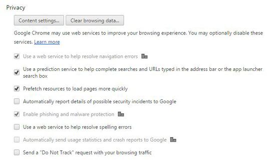 Figure 1: Chrome's privacy settings.