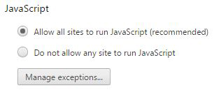 Figure 3: Disable JavaScript if you don't want to risk intrusion.