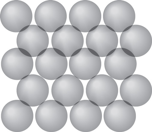 Molecules in a solid are tightly packed in a regular pattern.
