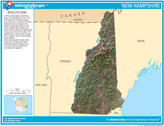 Satellite view of the state of New Hampshire.