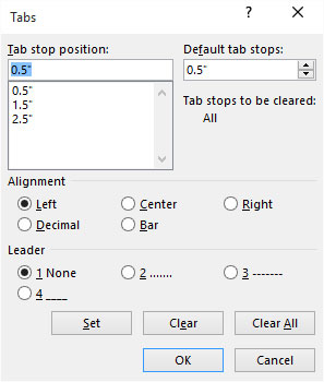 The Tabs (tab stop) dialog box.
