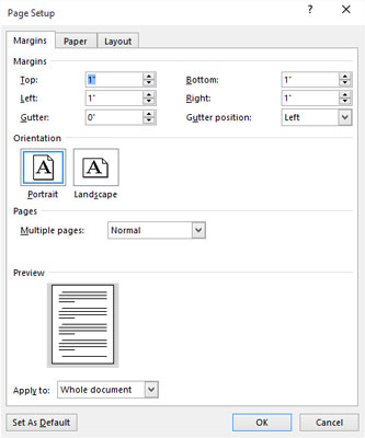 The Margins tab in the Page Setup dialog box.