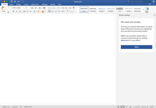The Home screen of Word 2016.