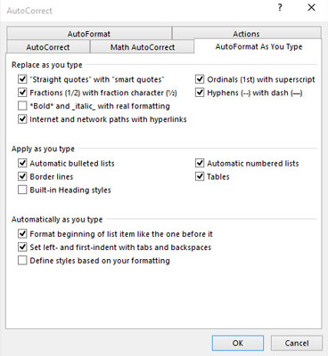 AutoFormat As You Type settings.