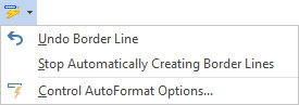 AutoFormat options.