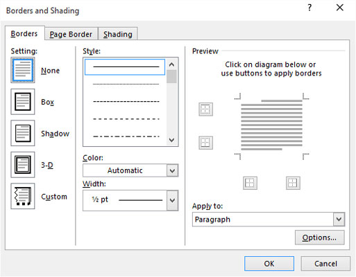 The Borders and Shading dialog box.