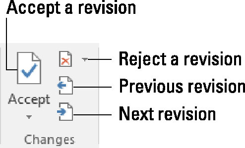 Buttons for reviewing changes.
