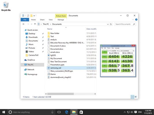 The Preview pane in File Explorer.