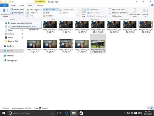 Enabling the Details pane in File Explorer.