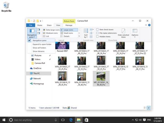 Disabling the Navigation pane in File Explorer.