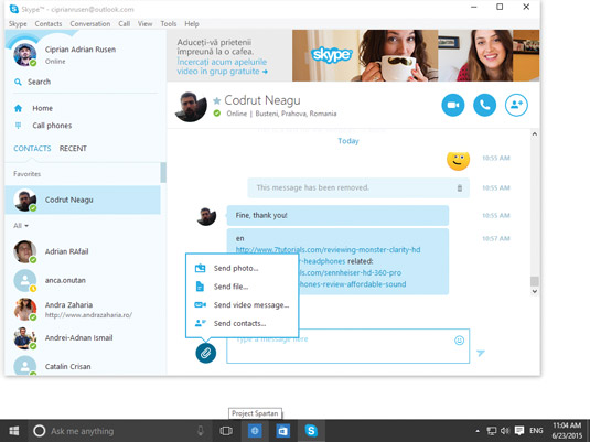 The Send File option in Skype.